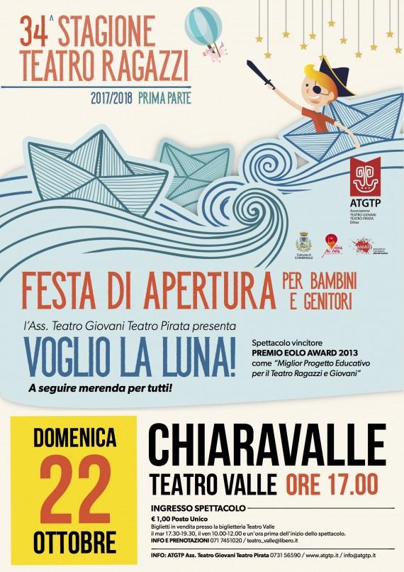 FESTA DI APERTURA 34^ Stagione Teatro Ragazzi Dom 22 OTTOBRE ore 17 CHIARAVALLE, Teatro Valle