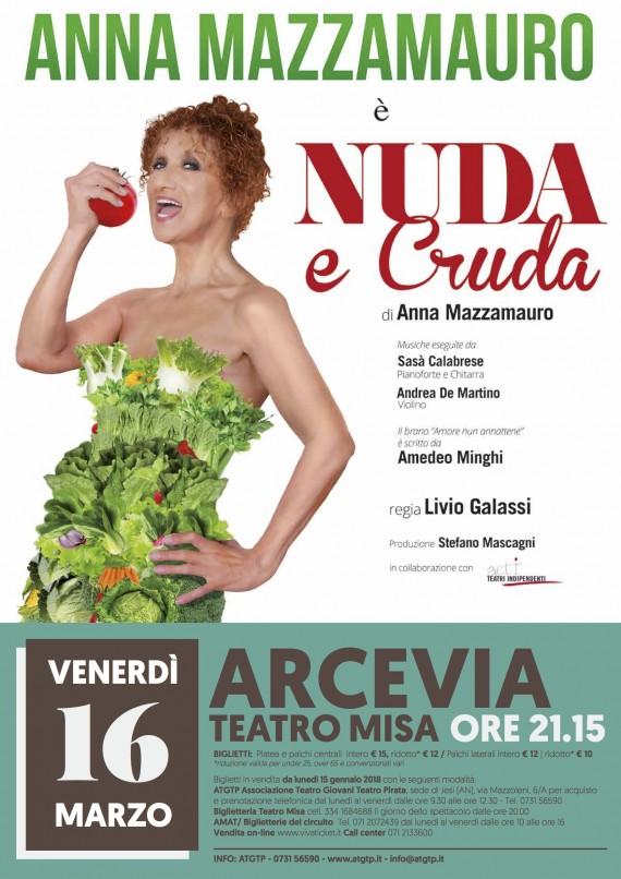 STAGIONE PROSA ARCEVIA <br/> Ven 16 marzo ANNA MAZZAMAURO &#8220;NUDA E CRUDA&#8221;