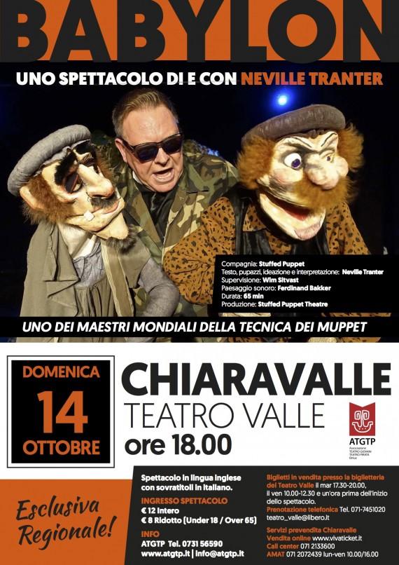 14 ottobre CHIARAVALLE, Teatro Valle &#8220;BABYLON&#8221; <br/> di e con Neville Tranter