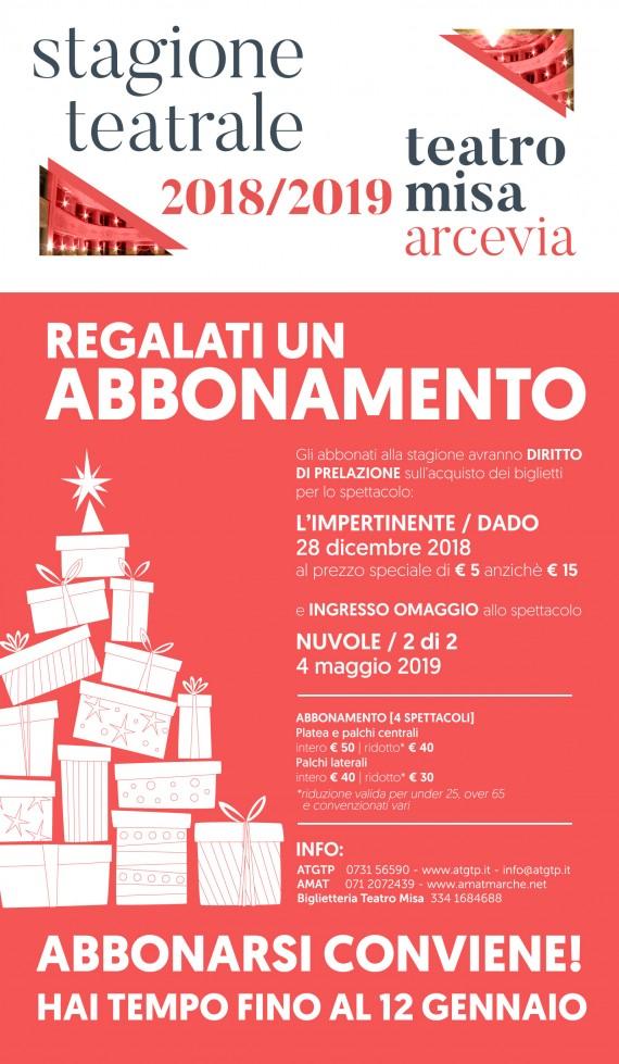 Al via il 15 DICEMBRE la campagna ABBONAMENTI alla STAGIONE di PROSA di ARCEVIA